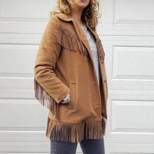 60s faux suede fringe boho coat